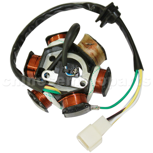 6-Coil Half-Wave Magneto Stator for 50cc-125cc Electrical & Kick Start ATV, Dirt Bike & Go Kart