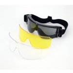 Eye Protecting Tactical Anti-fog Full Set Black Goggle Glasses With Spare Lens